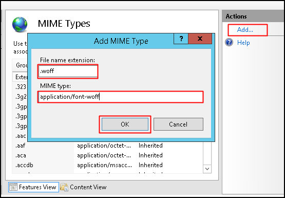 How to set MIME types for web fonts in IIS - Diadem