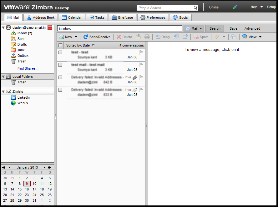 Setting up zimbra desktop accounts with GAL sync (Global