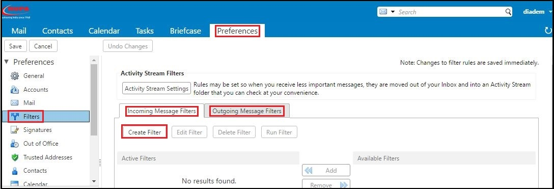 Incoming and Outgoing Message Filter in Zimbra - Diadem